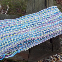 Hand-Woven scarf, striped scarf in tan purple yellow blue, light cotton scarf, long scarf, hand weaving, handcrafted scarf, gifts for her