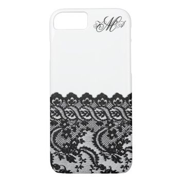 Black lace and monogram initials custom damask chi iPhone 7 case