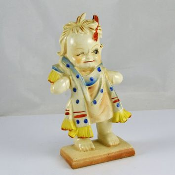 Child Figurine - Out of Bath Comb in Hair - Naked Behind -  Japan - Creepy Weird Bizarre Figurine