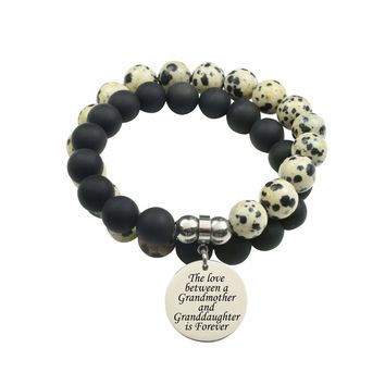 Genuine 10Mm Double Wrap Obsidian Dalmatian Mix Bracelet - Love Between Grandmother