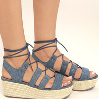 Steve Madden Brayla Denim Fabric Espadrille Wedges