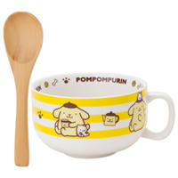 POMPOMPURIN Pom Pom Purin Soup Mug Cup with Wooden Spoon Stripe SANRIO JAPAN