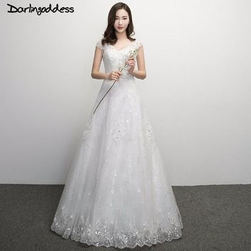 Darlingoddess Robe de Mariage Luxury 2017 Lace Beach Wedding Dress Sexy Open Back Romantic Boho Wedding Gowns Vestido de Noiva