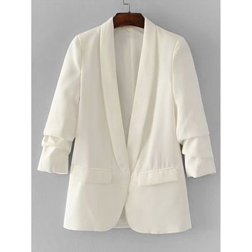Shawl Collar Tailored Blazer White
