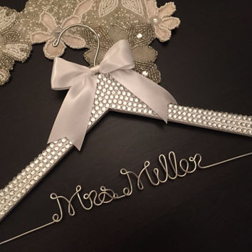 BLING Wedding Hanger, Bridal Hanger, Personalized Hanger, Brides Name Hanger, Bride Hanger, Bling Wedding, Rhinestone Sparkle Hanger
