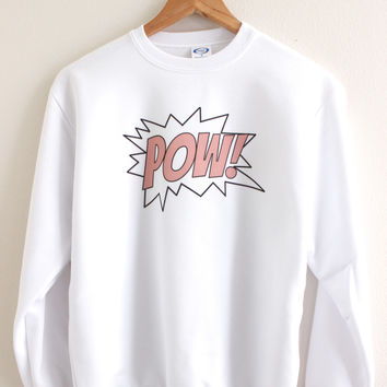 Pink POW Graphic Crewneck Sweatshirt