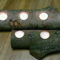 Tealight Candle Holders Rustic Log Sold by DeerwoodCreekGifts