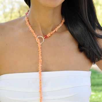 Orange Coral Lariat Necklace, Pink Swarovski Crystal, Gold Fill