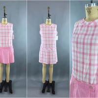 Vintage 1960s Romper / 60s Playsuit / Convertible  Jumpsuit / Tennis Skirt Skort / Preppy Pink Plaid / Drop Waist / Size Small S