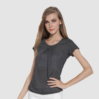 Polka Dots Short Sleeves Pleated Blouse