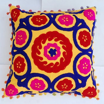Cushion Covers Indian Handmade Woolen Embroidered Suzani Cushion Covers Rangoli Home Living Room Decor art High Fashion Sofa Cover Cute Gift