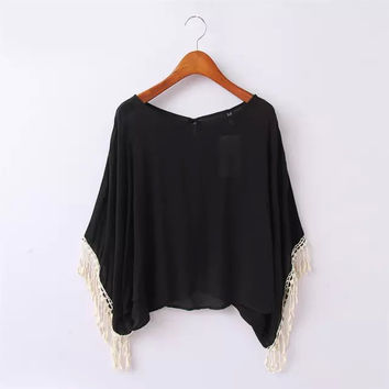 Black Tassel Sleeve Asymmetrical Blouse