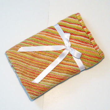 Knit Baby Blanket in Diagonal Stripes, Citrus Colors, Baby Shower Gift, Mother's Day Gift