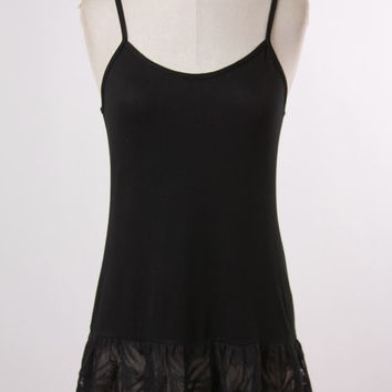 Ruffled Lace Top Extender in Black