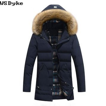 Long Thick Fur Collar Padded Men's Winter Jacket Coat Warm Detachable Cap