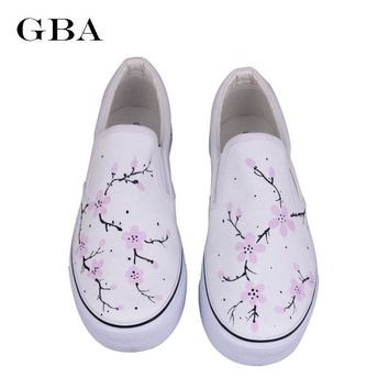 Gba Women Hand Painted Canvas Shoes Fashion Rihanna Girl Board Shoe Foot Wrapping Eleg