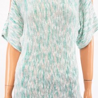NY Collection Women's Boat Neck Green Cold Shoulder Dolman Marl Sweater Top XS
