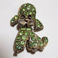 Peridot Green Rhinestone Poodle Pin, Figural Poodle Brooch, Red Glass Eyes,  Mid Century Figural Dog Pin 717