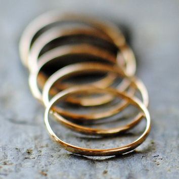 Solid Gold Rings Five Handmade 14k Rings by DalkullanJewelry