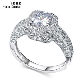 DreamCarnival 1989 Silver 925 New Classic Propose Gift High Grade AAA Cubic Zirconia Thin Wedding Band Engagement Ring SJ20805