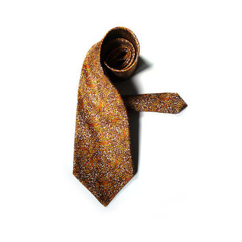 Vintage Mens Silk Tie, Italian Necktie Mustard and Gold, Made in Italy
