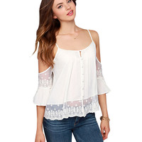 White Off-shoulder Ruffled Sleeve Chiffon Top