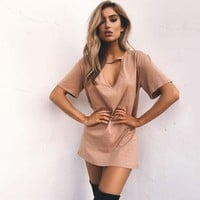 Hot Sale Women's Fashion Round-neck Hollow Out Short Sleeve One Piece Dress