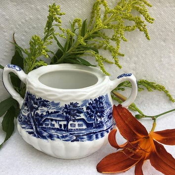 Country Style Porcelain Sugar Bowl Vintage or Antique WH Grindley Staffordshire England Serving Ware Blue and White English Cottage China