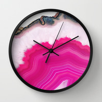 Pink Agatha Slice Wall Clock by Cafelab