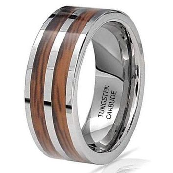 CERTIFIED 8MM Double Wood and Tungsten Wedding Band
