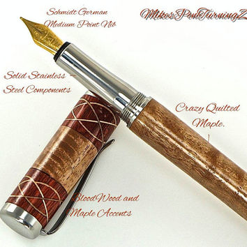 Custom Wooden Pen Fountain Beautiful Quilted Maple  Bloodwood segments and Knots Stainless Steel Components 732FPSSF