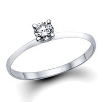 1/3-1/5 ct IGI Certified Diamond Engagement Ring in 14K White Gold (1/5 - 1/3 ct, L-M Color, I1-I2 Clarity)
