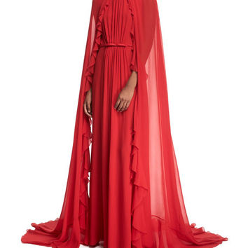 Giambattista Valli Ruffle Cape Gown