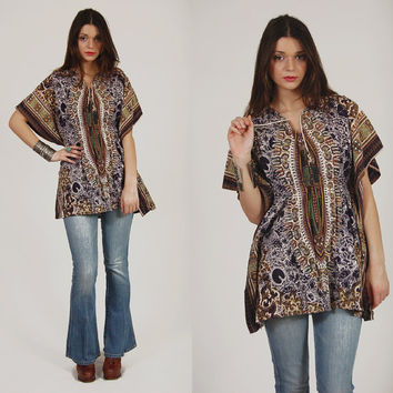 Vintage 70s DASHIKI Hippie TRIBAL Tunic Ethnic Festival Fitted Butterfly Top
