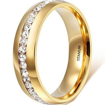 CERTIFIED 6mm Titanium Stainless Steel 18k Gold Wedding Ring Channel Set Cubic Zirconia Engagement Band