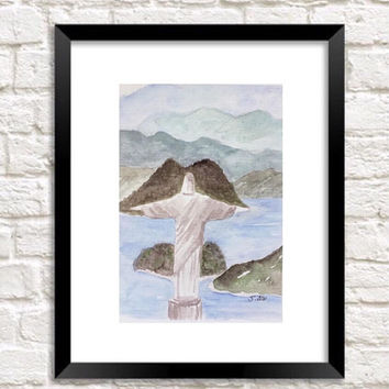 Rio print, Jesus painting, Rio de janeiro print, Watercolor landscape, Travel artwork, Mountain landscape, Ocean painting, Europe wall art