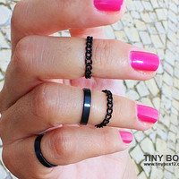 Black Knuckle Ring - Midi Ring - Stackable Ring Set  - Chain  Ring -  Rings - Mid Knuckle Ring - Stacking Ring Set of 4 Rings by TinyBox1