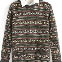 Tribal Pattern Removable Collar Sweater - OASAP.com