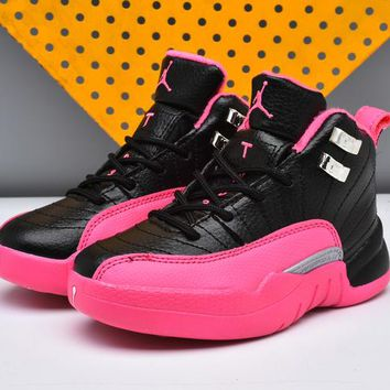 New Nike Air Jordan 12 Kids Shoes Pink Black