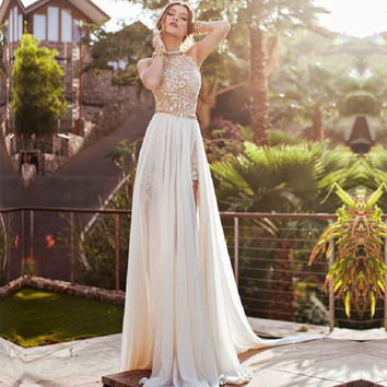 Halter Vestido Para Formatura Ivory Chiffon Long Prom Dresses Sheer Top Detachable Prom Dresses Backless Mermaid Prom Dress