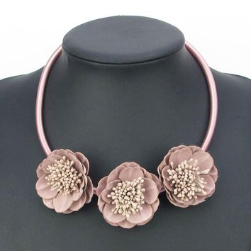 2017 New Handmade 5 color Fabric Flower Elegant Statement Choker Necklace Leather Fashion Jewelry Pendants Girl Christmas Gift