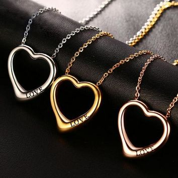 Silver/Rose Gold/Gold-Color Heart Pendant Necklace Quality Stainless Steel Necklace Love Jewelry Gift for Women Wife Girlfriend