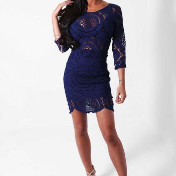 Japan Sexy Lace Hollow Out Zipper Semi Formal Dress