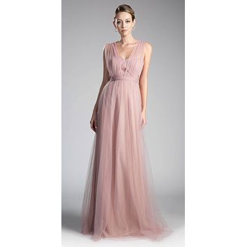 Tulle Infinity Style Long Bridesmaid Dress Blush