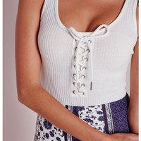 LACE UP RIBBED BODYSUIT WHITE