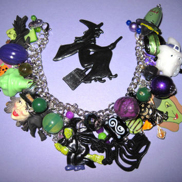Halloween Witches Charm Bracelet Vintage & New Beads Charms Trinkets OOAK Eclectic Statement Piece Jewelry Loaded