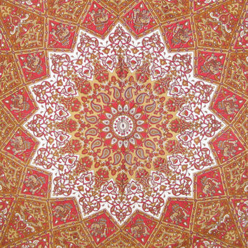 "Hippie Hippy Wall Hanging,Indian Mandala Star Elephant tatpestry,Wall Decor,Bed Spread Wall art,Beach Coverlet Throw, Curtain 92"" x85"""