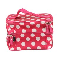 Unique Dots Pattern Double Layer Cosmetic Bag Rose Red (7.48