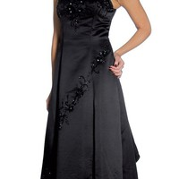 Black Wedding Dress Beaded Mesh Tank Straps Black Wedding Satin Gown
