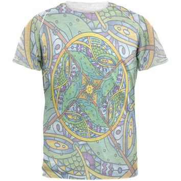 LMFCY8 Mandala Trippy Stained Glass Chameleon Mens T Shirt